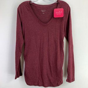 Isabel Maternity Red LS Tee Small #C1-086